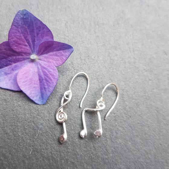 Image of Music Note Silver Earrings