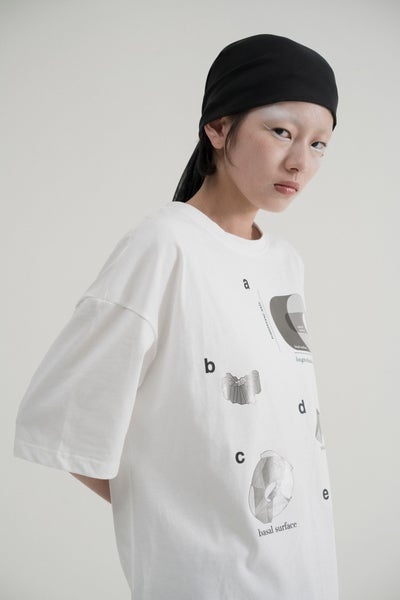 Image of IMPLY - Geometric Graphic T-Shirt (White)