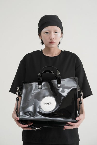 Image of IMPLY - Geometric Patent Leather Tote Bag