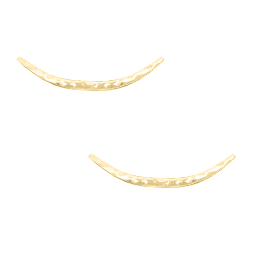 Image of Hammered Crescent Moon Ear Climbers - Gold