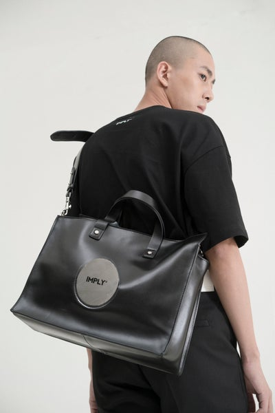 Image of IMPLY - Geometric Leather Tote Bag
