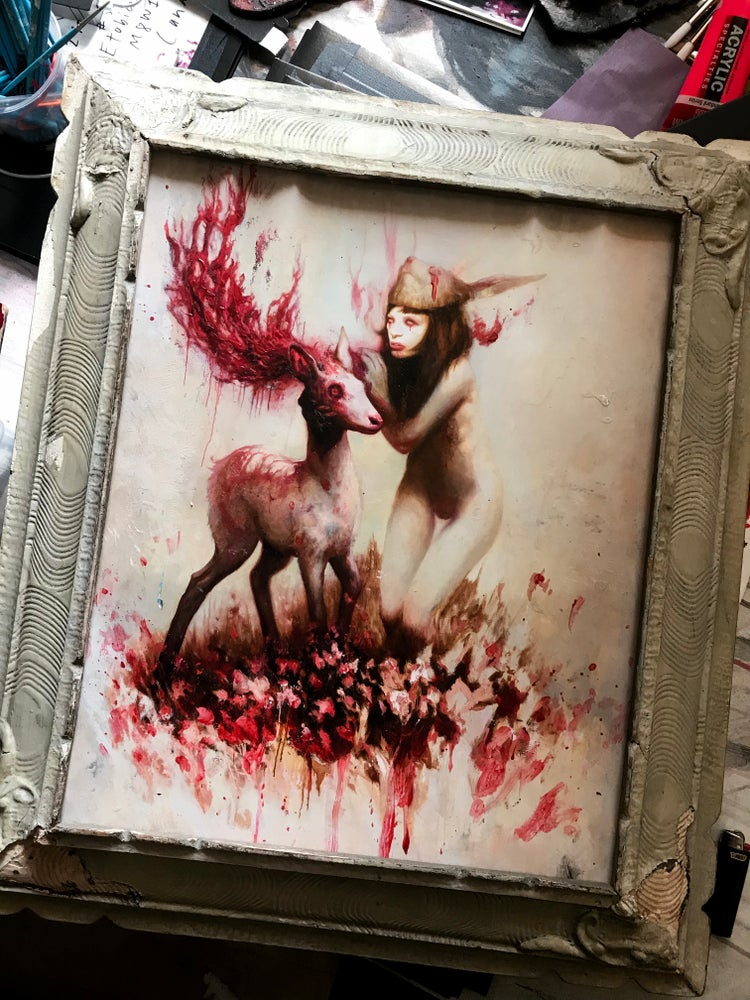Image of ALBINO BUNNY GIRL' [ 1 / 1 ] Hand Embellished Museum Archival Print in Antique Frame