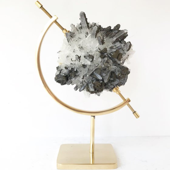 Image of Quartz/Galena/Chalcopyrite no.43 + Brass Arc Stand