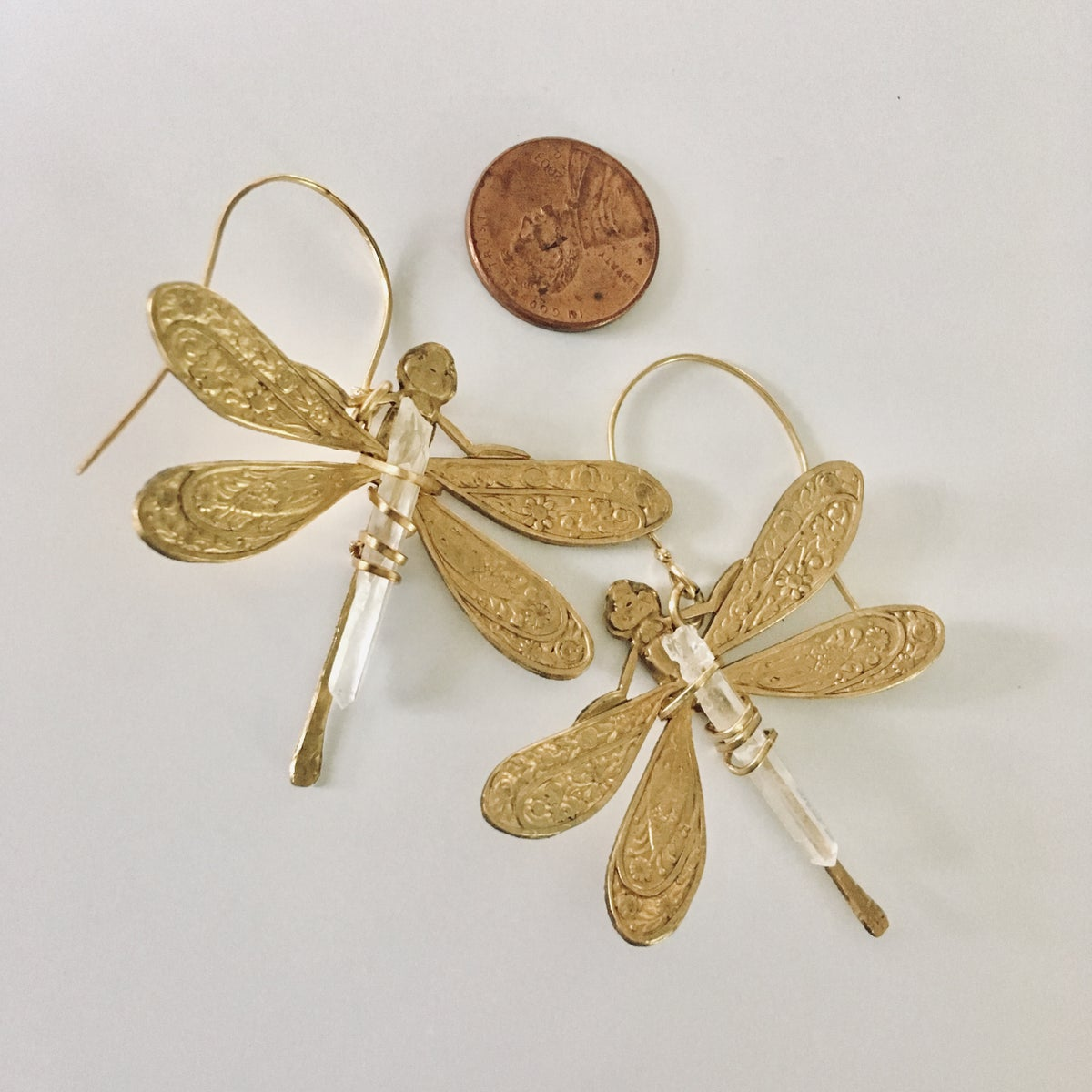 Image of Quartz Dragonfly Earrings