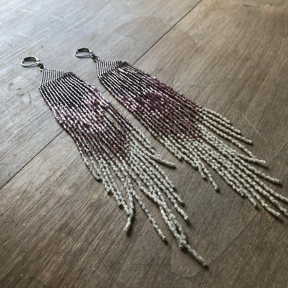 Image of METALLIC BLUSH FADE FRINGE EARRINGS - OOAK