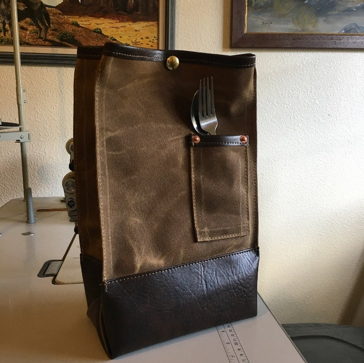 """Image of ✨NEW✨ Waxed Canvas & """"Leather"""" Lunch Bag"""
