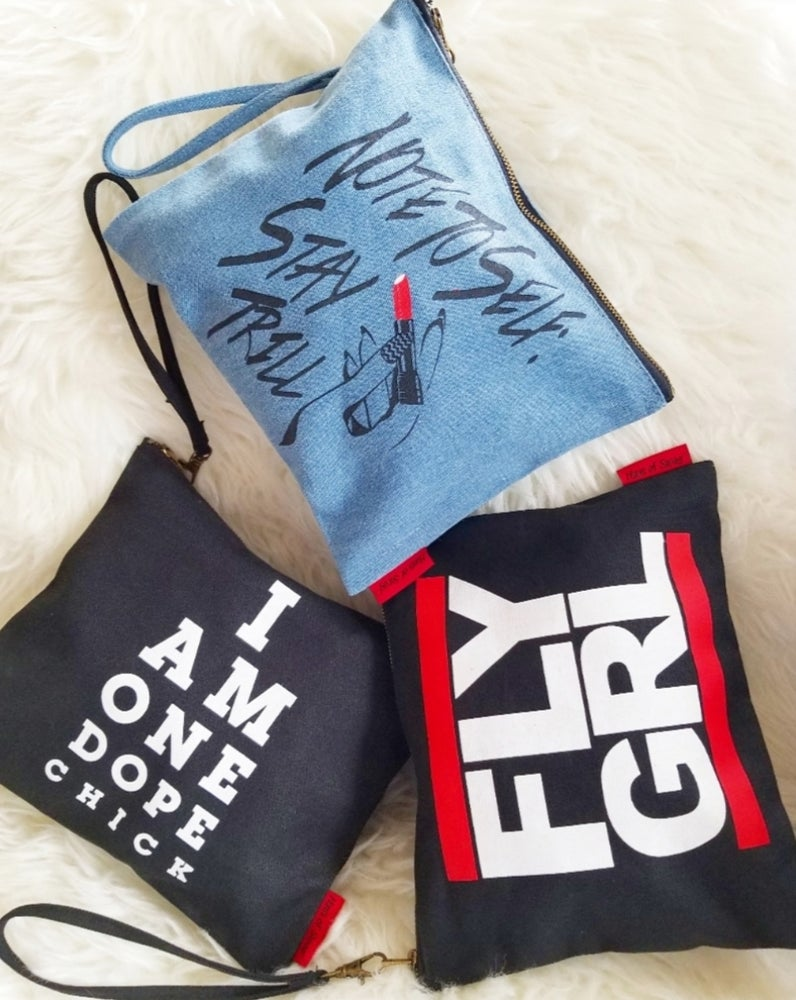 Image of Note To Self: STAY TRILL Denim Wristlet Clutch