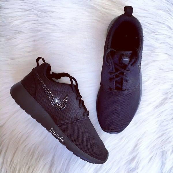 Image of Swarovski Bling Nike Roshe Run Black customized with Jet Black SWAROVSKI® Xirius Rose-Cut Crystals.