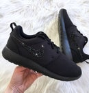 Image of Swarovski Bling Nike Roshe Run Black customized with Jet Black SWAROVSKI® Xirius Rose-Cut Crystals.
