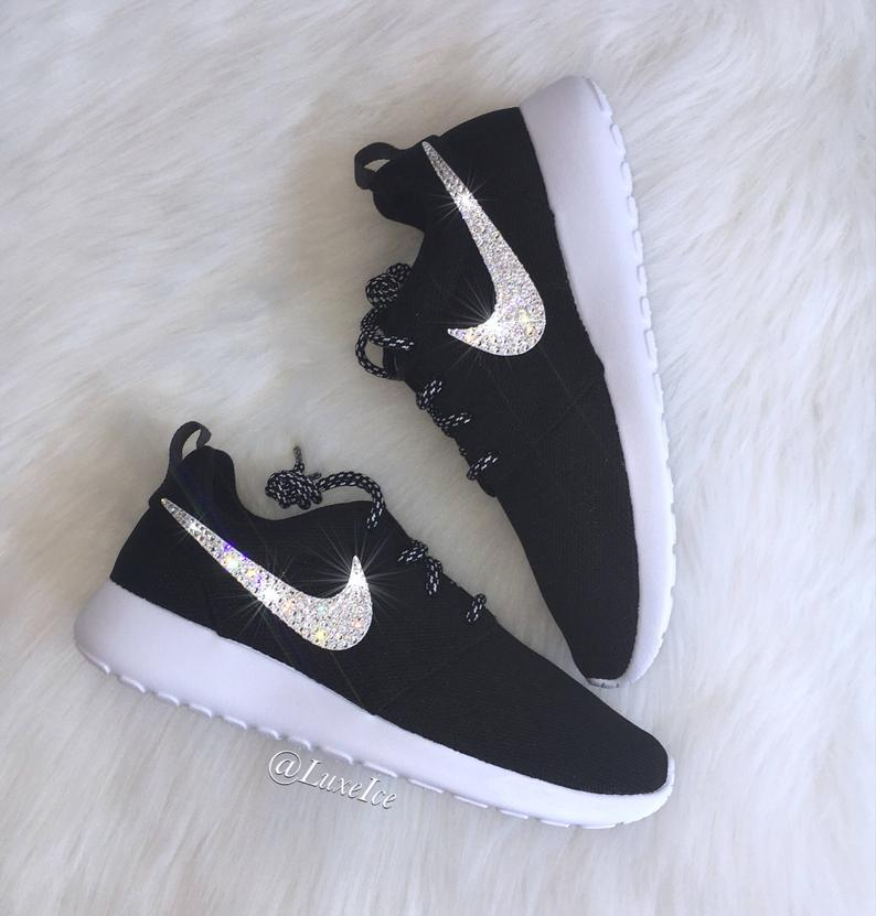 quality design 9a6a2 a1d69 Swarovski Nike Roshe One Women's Running Shoes Black/White/Metallic Platinum