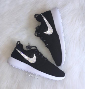 Image of Swarovski Nike Roshe One Women's Shoes Black/White/Metallic Platinum with Swarovski Crystals.