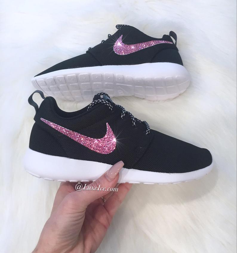 online retailer 506b4 91852 Swarovski Nike Roshe Run Black/White with Pink SWAROVSKI® Xirius Rose-Cut  Crystals.