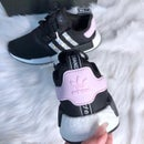 Image of Swarovski Adidas NMD R1 Core Black/White/Clear Pink with SWAROVSKI® Xirius Rose-Cut Crystals.