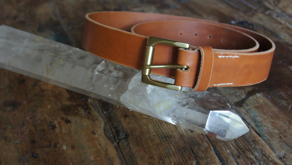 Image of Leather Belt- Gold Buckle