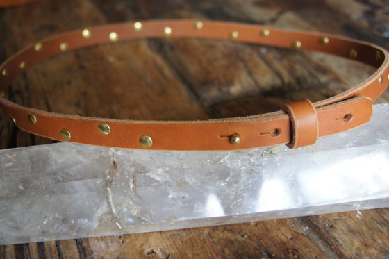 Image of Leather Belt- Slim with Gold Studs