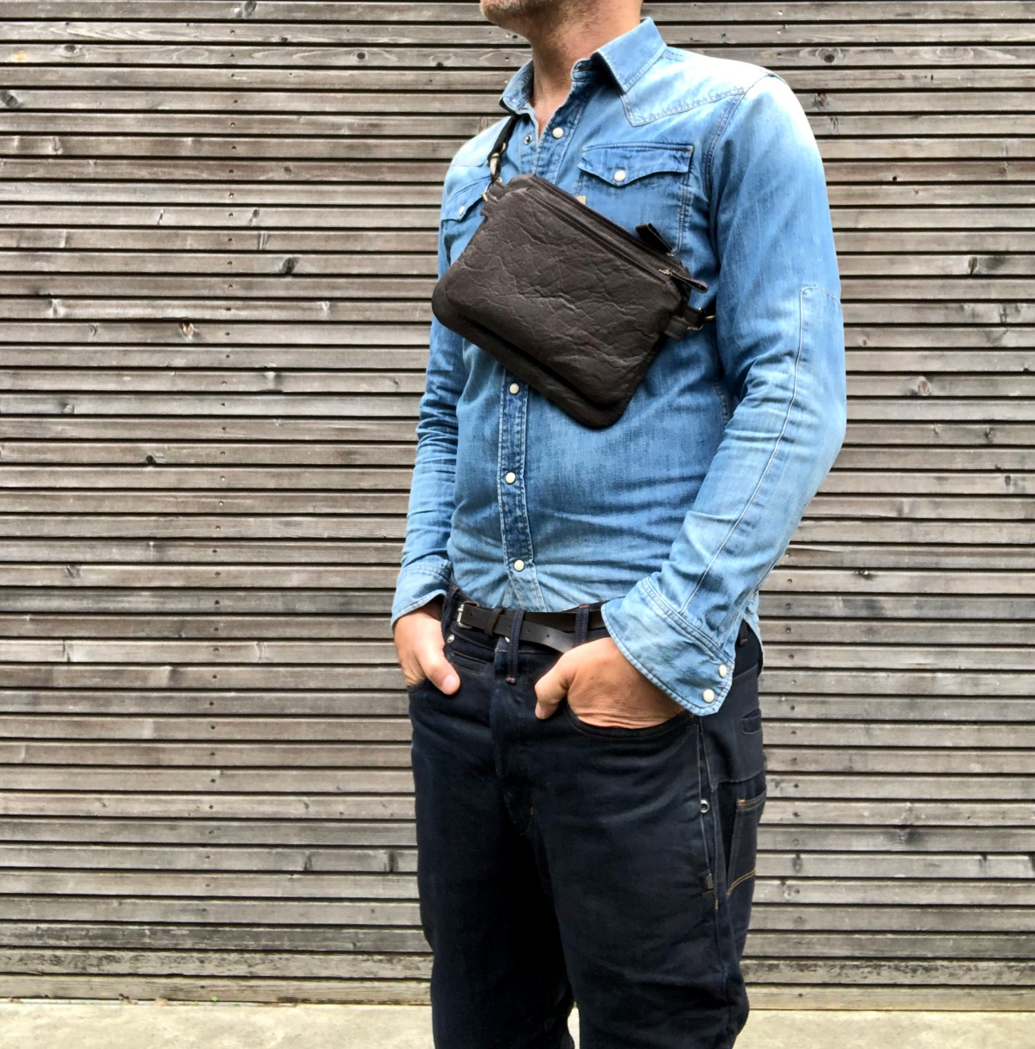 Image of Pinatex fanny pack / vegan belt bag / small messenger bag/ kangaroo bag with shoulder strap