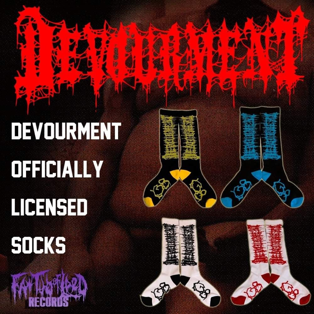 Image of Officially Licensed Devourment Yellow/Blue/Black/Red Black and White Socks!!!