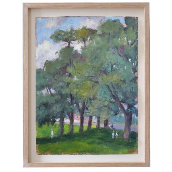 Image of 1945, Oil on Board, 'Afternoon in the Park,' Georges Guerin (1910-)
