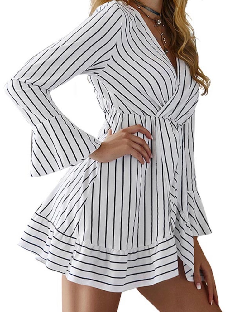 Image of White dress with strips