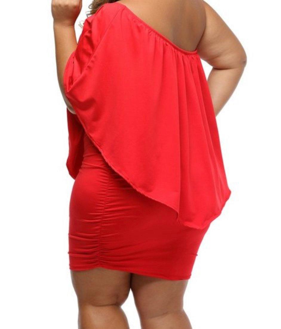 Image of Red off the shoulder dress