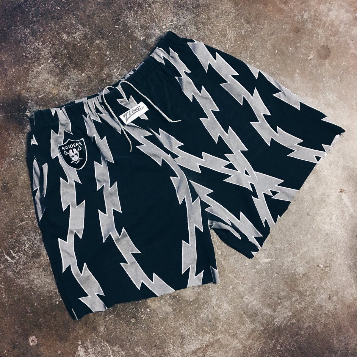 Image of Original 90's Zubaz Raiders Cutoff Shorts.