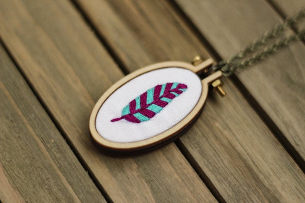 Image of Fuchsia/Aqua Feather Necklace