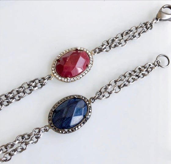 Image of Oval Stone Chain Bracelet