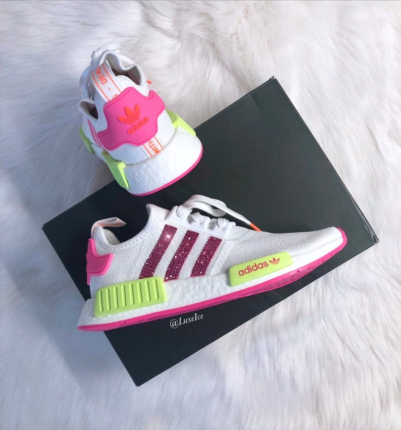 meilleur site web 180d1 ade6d Swarovski Bling Adidas NMD R1 Neon customized with SWAROVSKI® Xirius  Rose-Cut Crystals.