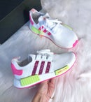 Image of Swarovski Bling Adidas NMD R1 Neon customized with SWAROVSKI® Xirius Rose-Cut Crystals.