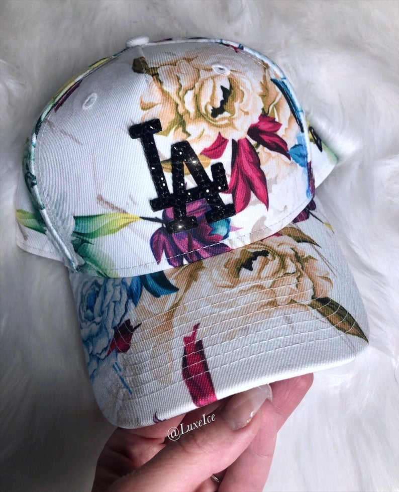 Image of Swarovski New Era LA Floral Hat customized with Swarovski 2088 Xirius Cut Crystals.