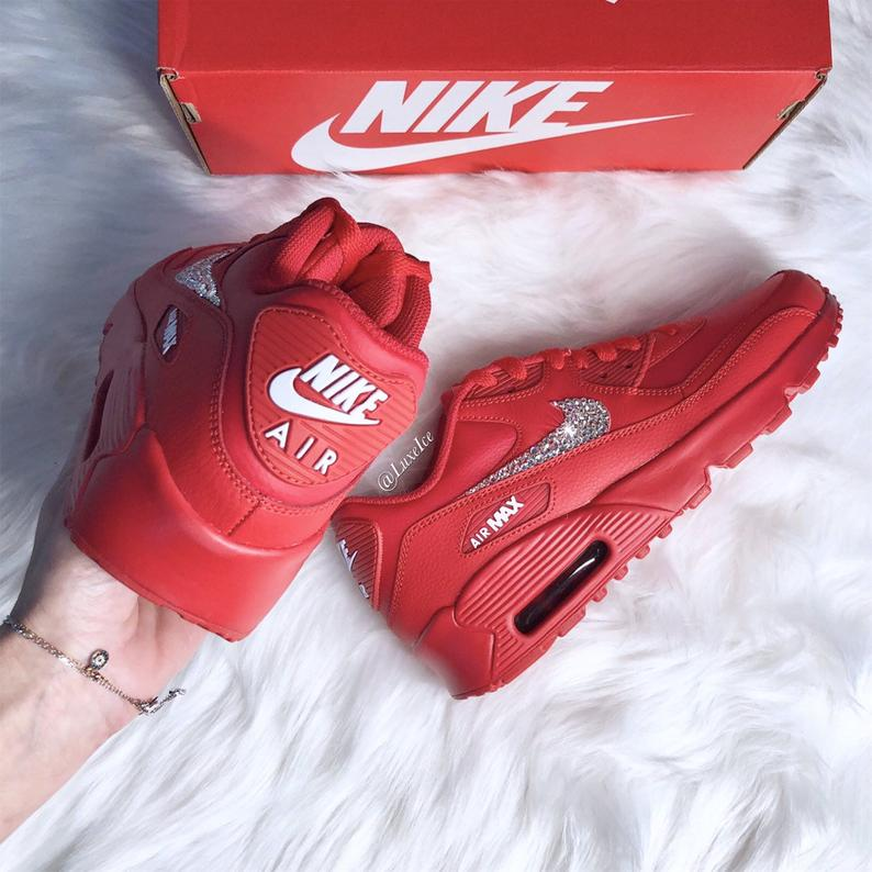 Swarovski Nike Air Max 90 Casual Shoes Red customized with SWAROVSKI® Xirius Rose Cut Crystals.
