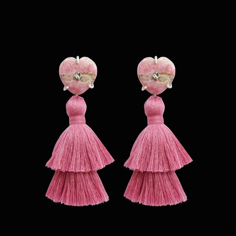 Image of Rhodochrosite Heart Tassel Earrings