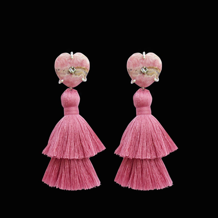 Image of Rhodochrosite Heart Tassel Earrings
