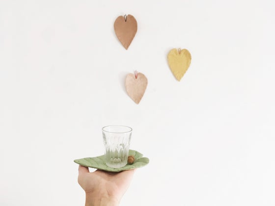 Image of cocon leaf coasters (a set of 2 leaves)