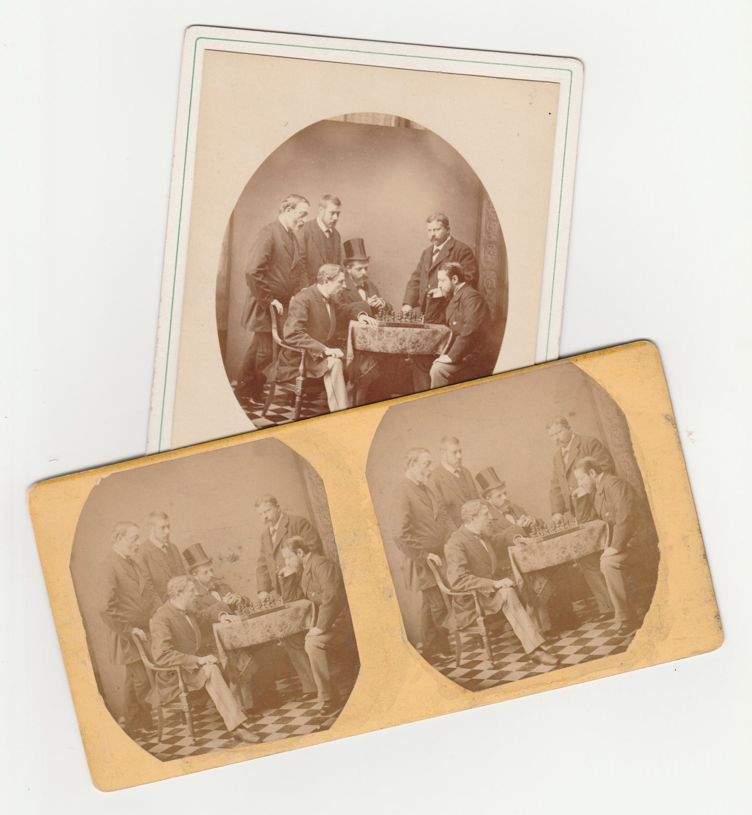 Image of Playing Chess: cabinet card and stereo print, ca. 1875