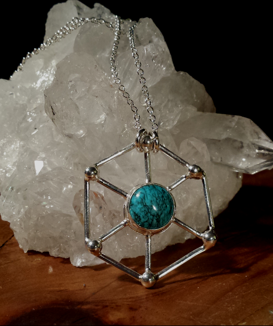 Image of Bisbee Turquoise Hexagon Sterling Silver Pendant