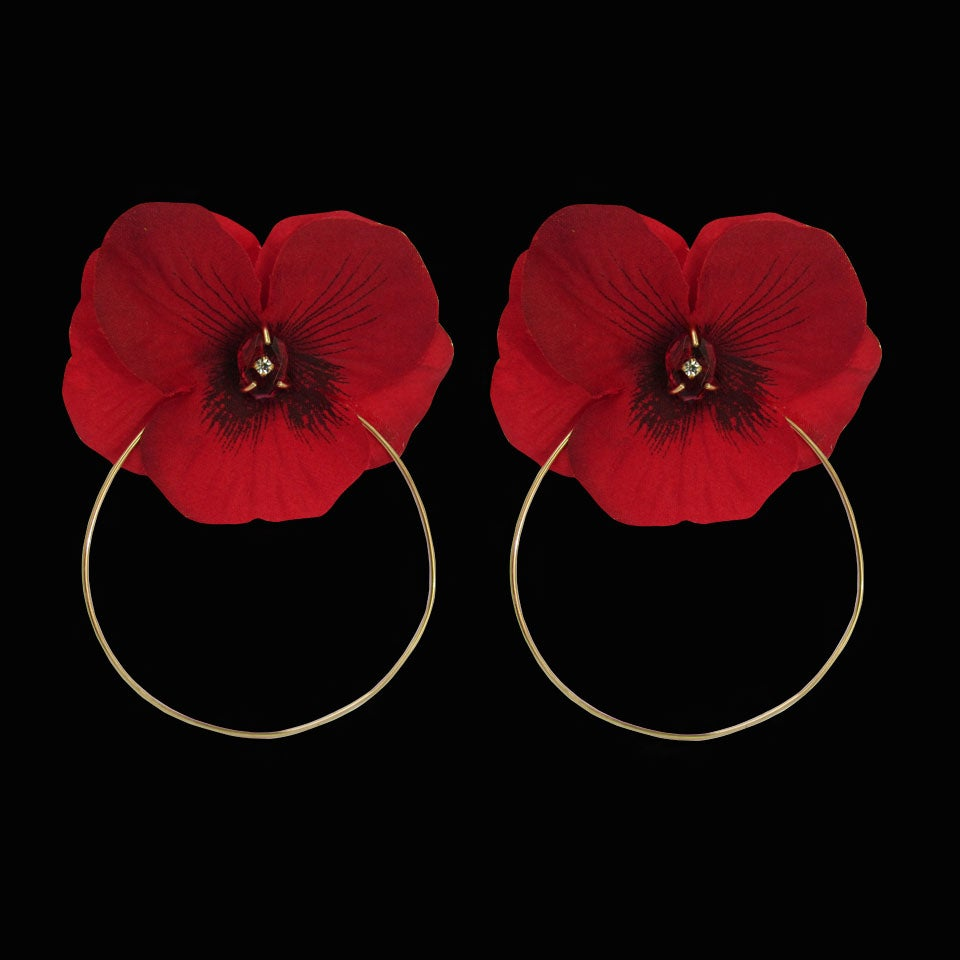Image of Red Crystal Quartz Flower Hoops