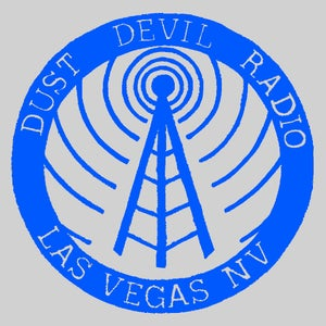Image of Dust Devil Radio sticker - Blue on Silver