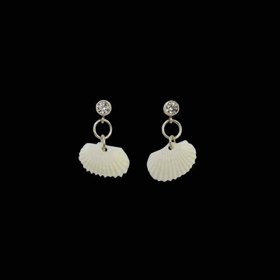Image of White Topaz Shell Earrings