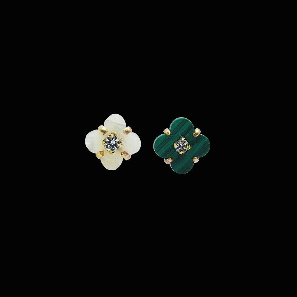 Image of Mother of Pearl Flower and Malachite Clover Stud Earrings