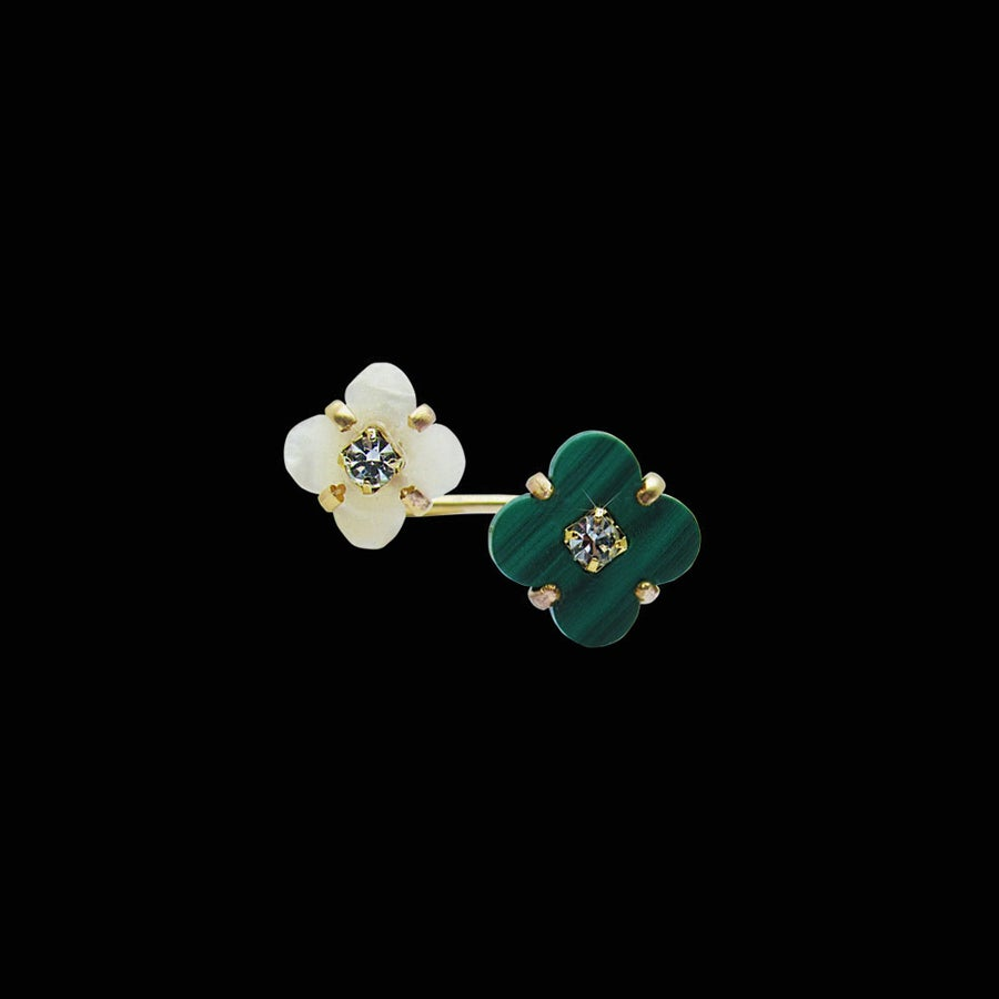 Image of Mother of Pearl Flower and Malachite Clover Double Ring