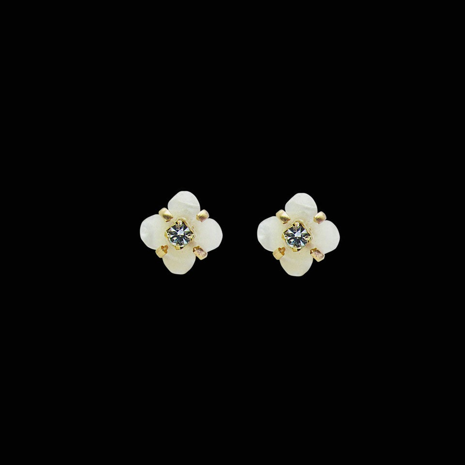 Image of Mother of Pearl Flower Stud Earrings