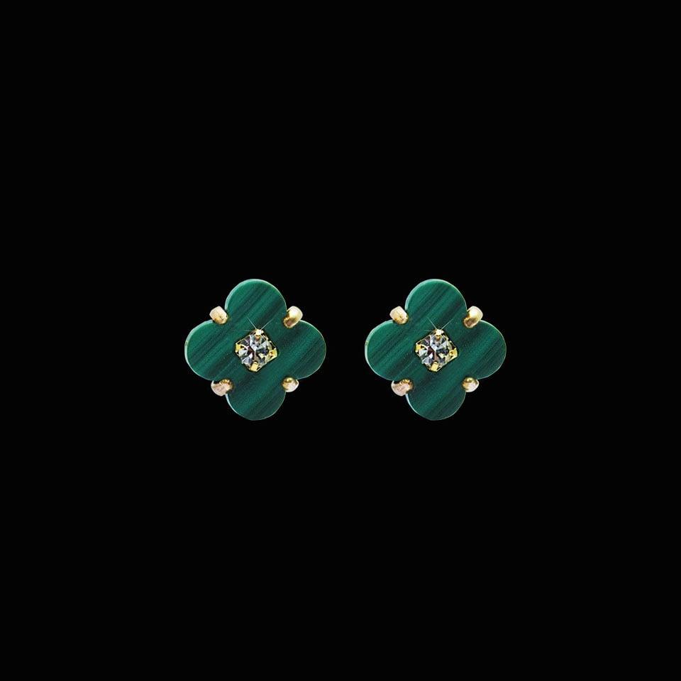 Image of Malachite Clover Stud Earrings