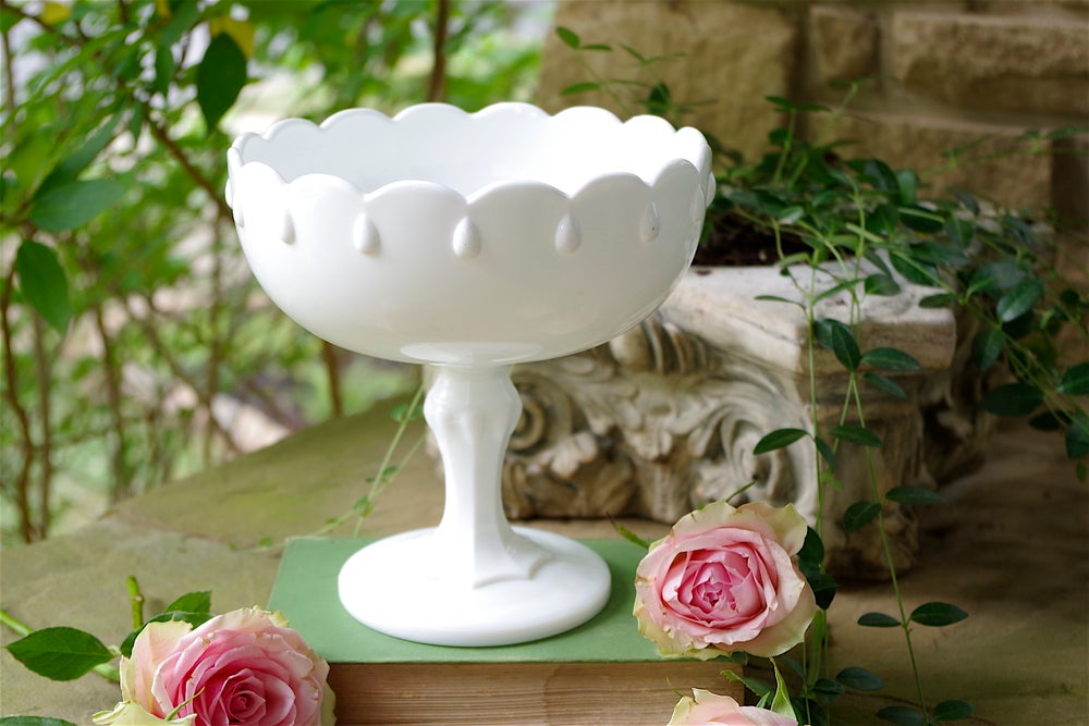 Image of Teardrop Milk Glass