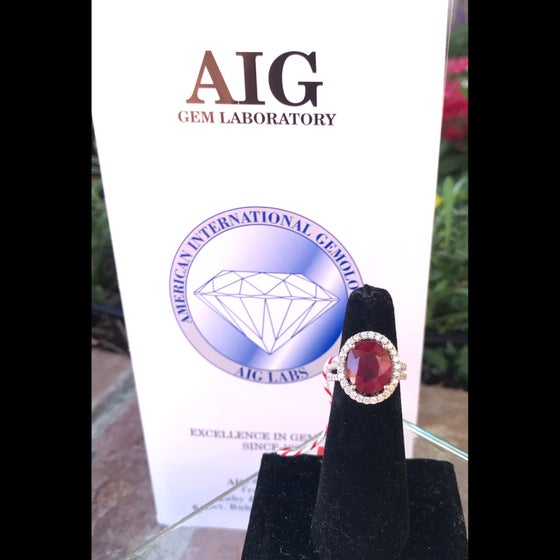 Image of AIG Appraised 14k White Gold-Ruby & Diamond Cocktail Ring