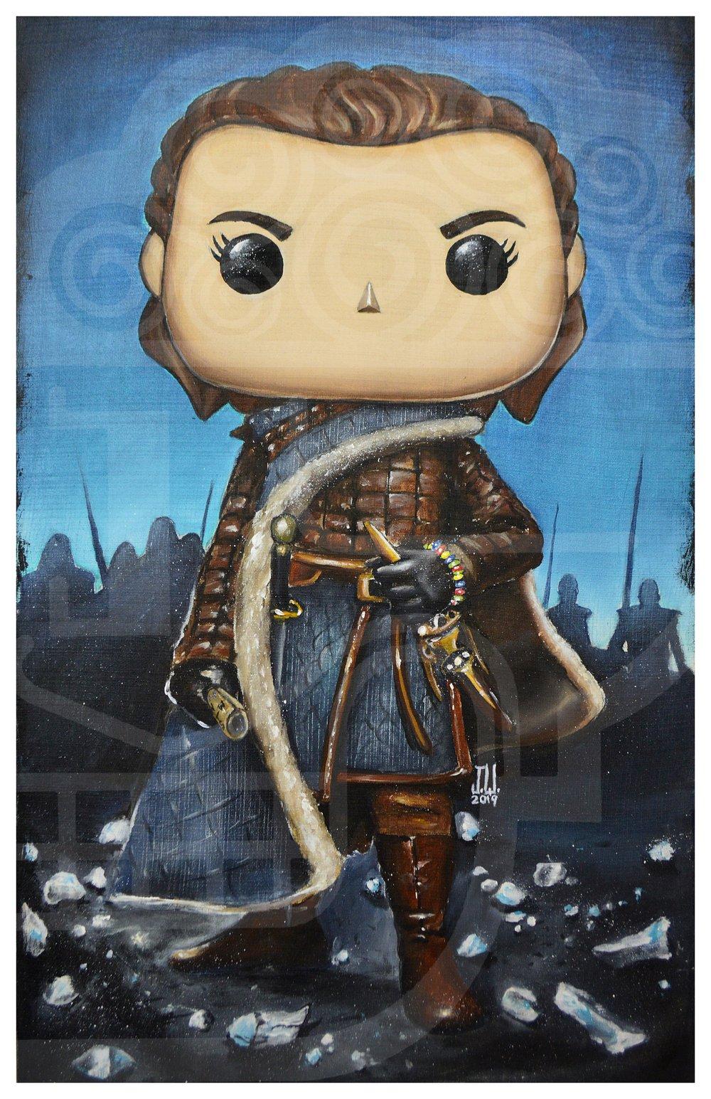 Image of ARYA POP STARK Jeremy Worst Game of Thrones House painting fan art night king needle original funko