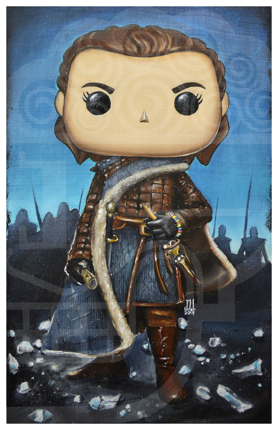 Image of ARYA POP STARK Jeremy Worst Game of Thrones House painting fan art night king needle original funko