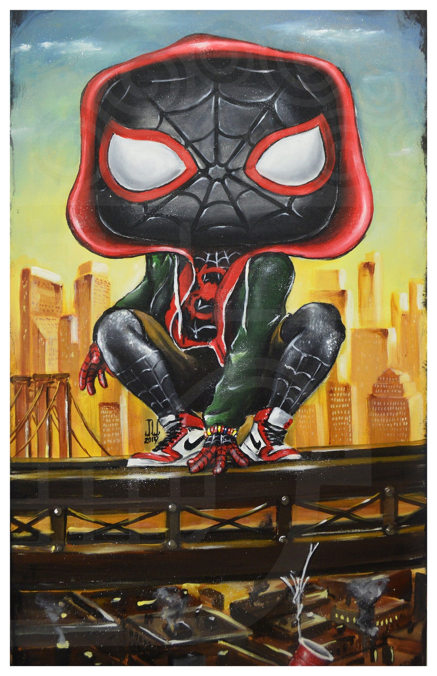 Image of Miles Pop Morales Jeremy Worst Spiderman avengers marvel comics painting fan art graffiti city urban