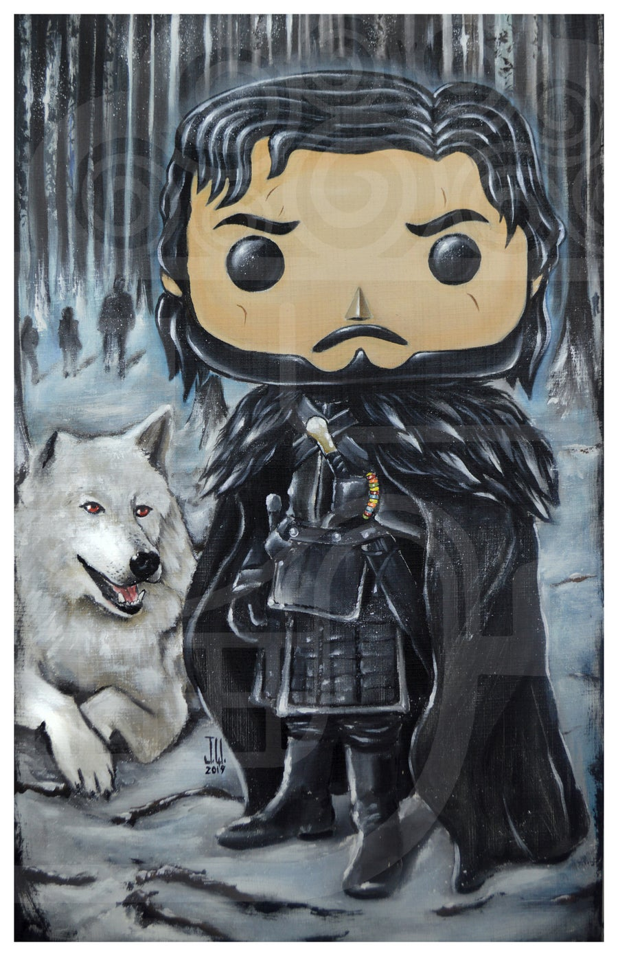 Image of Jon Pop Snow Jeremy Worst Game of Thrones House HBO painting fan art Queen Slayer needle original fu