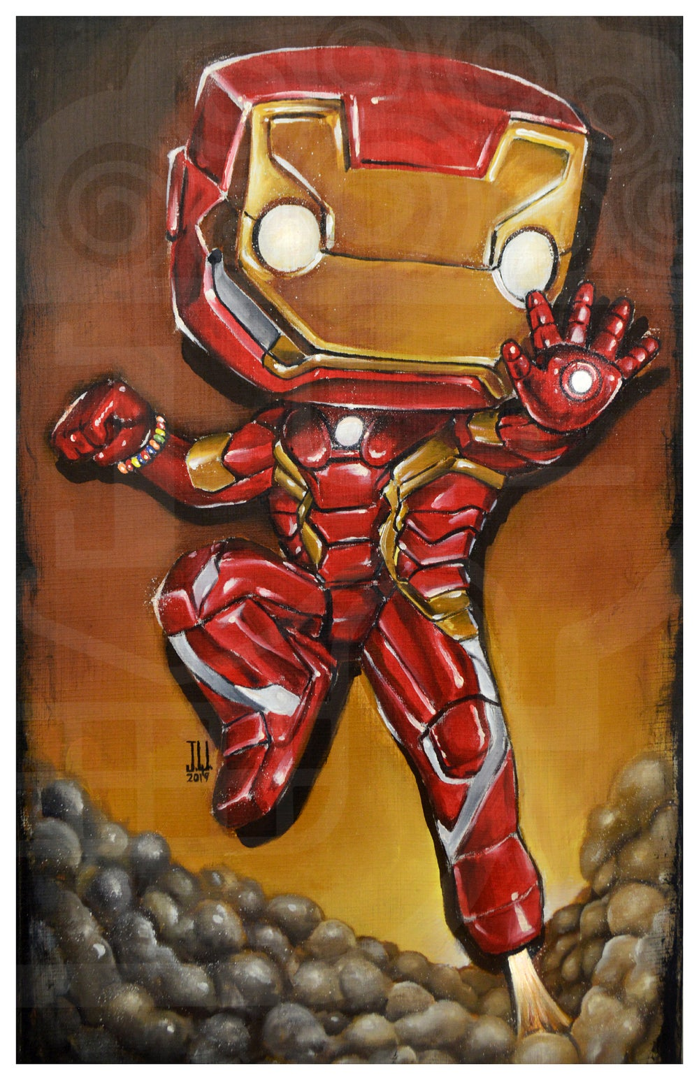 Image of I am IRON POP MAN Jeremy Worst tony start avengers marvel comics painting fan art armor suit red gol